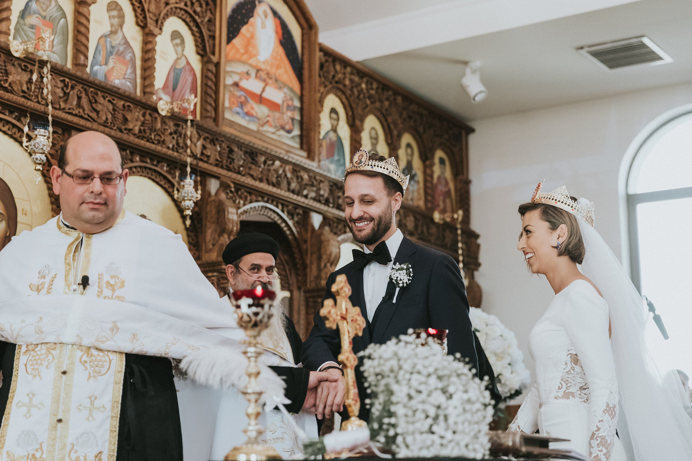 circling the holy table at antiochian orthodox wedding