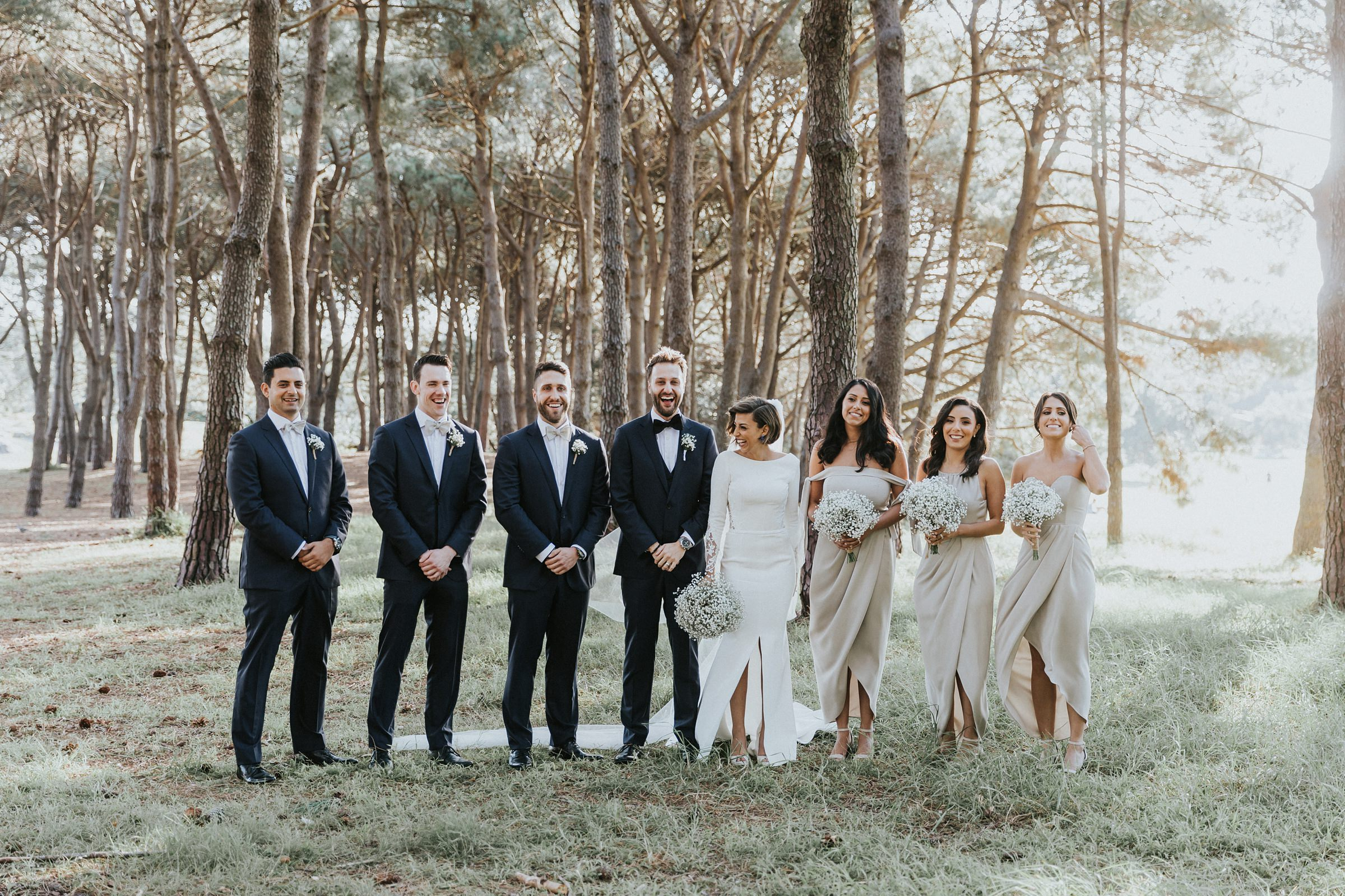 good looking bridal party in centennial park pine grove sydney