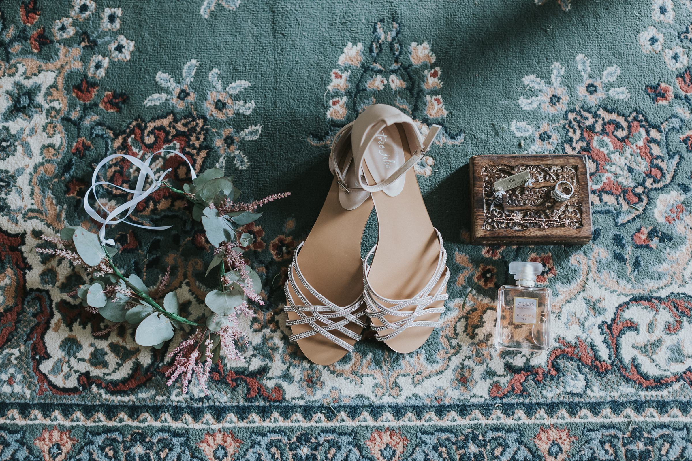 brides shoes and details at mali brae farm