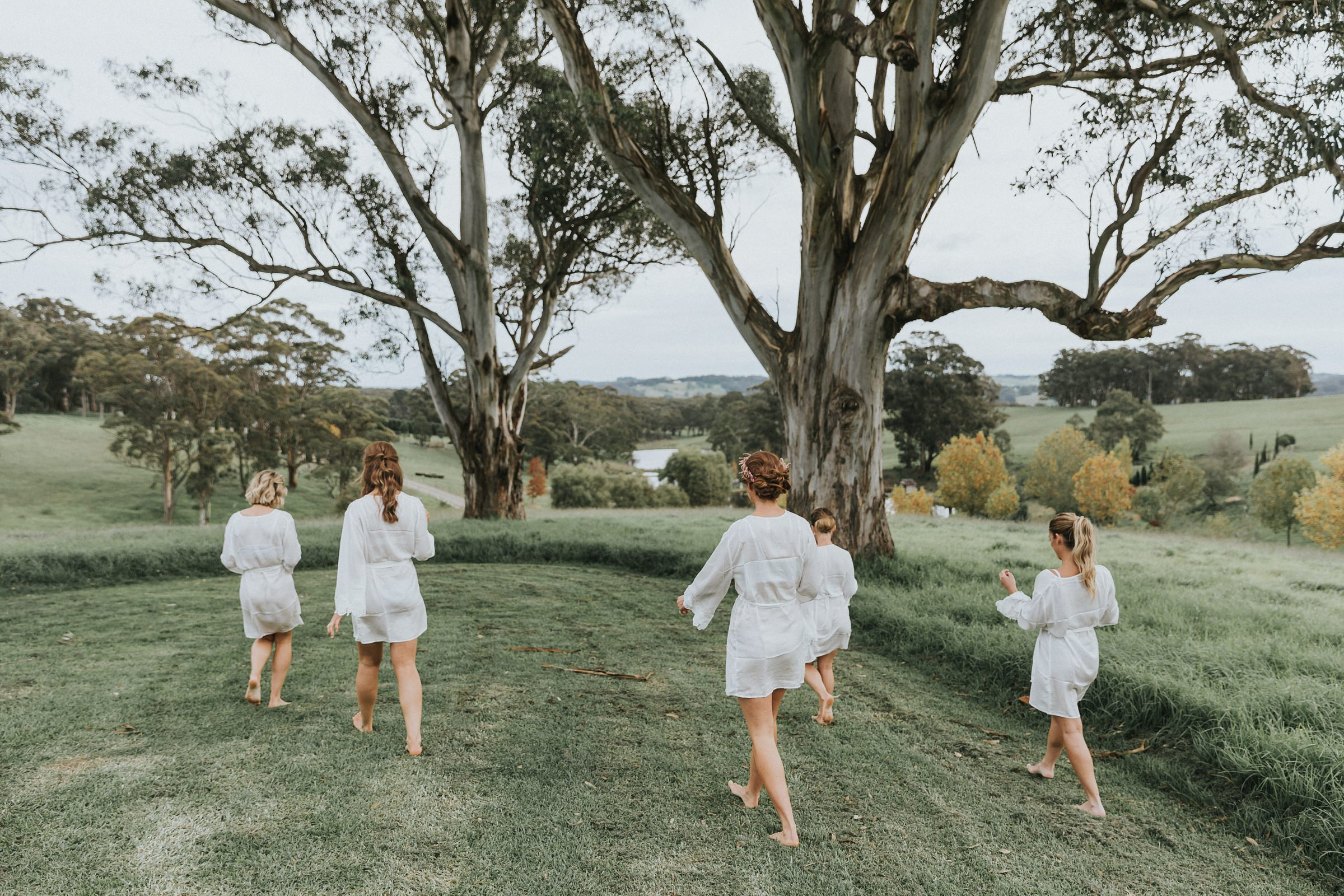 bride and her bridesmaids at mali brae farm