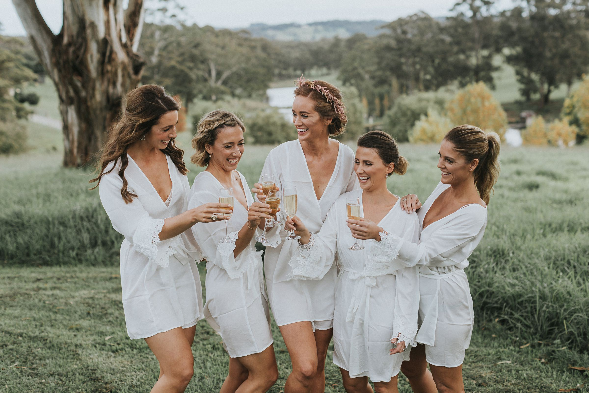 cute bridesmaids in lace gowns at mali brae farm