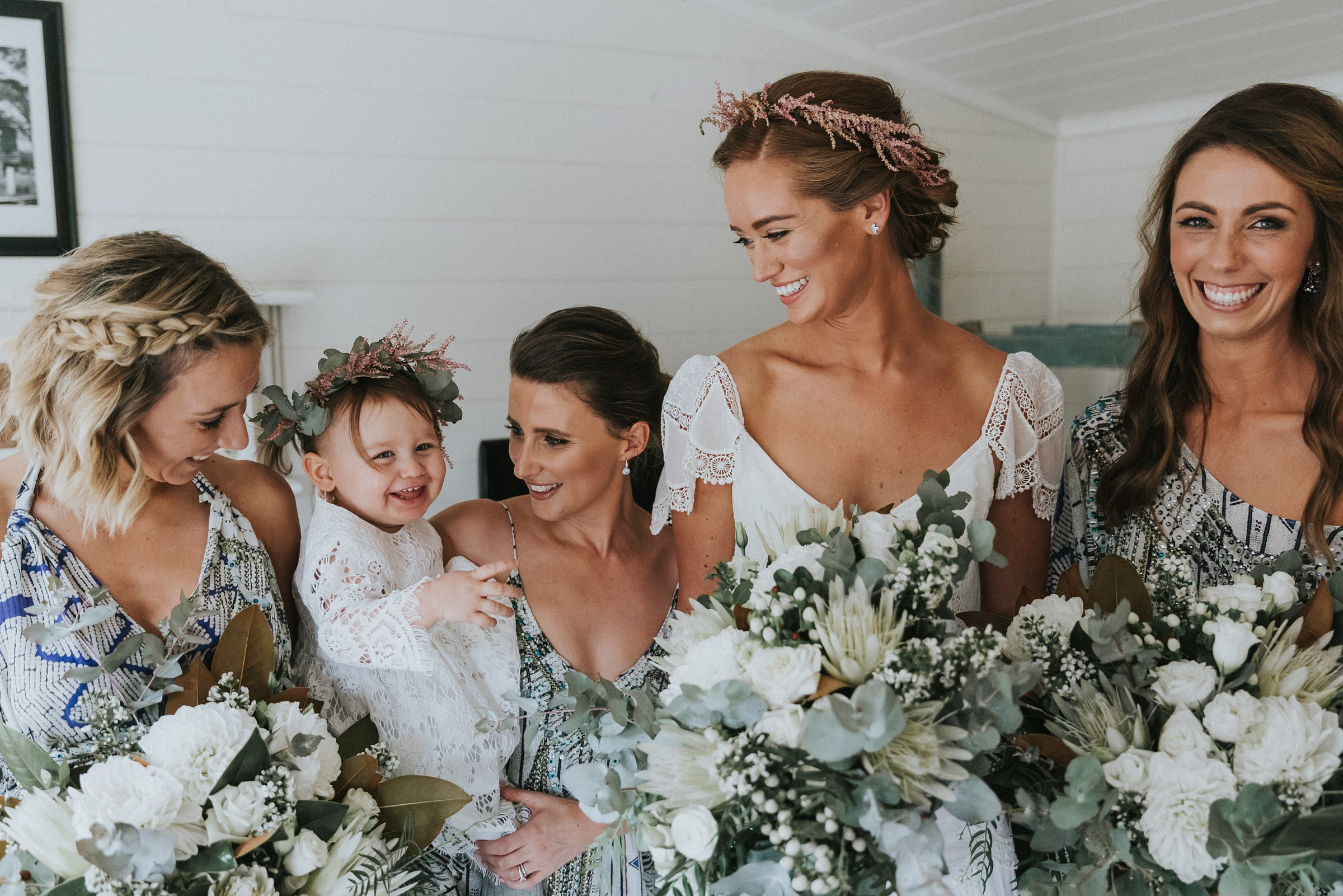cute flower girl at mali brae wedding with bridal party