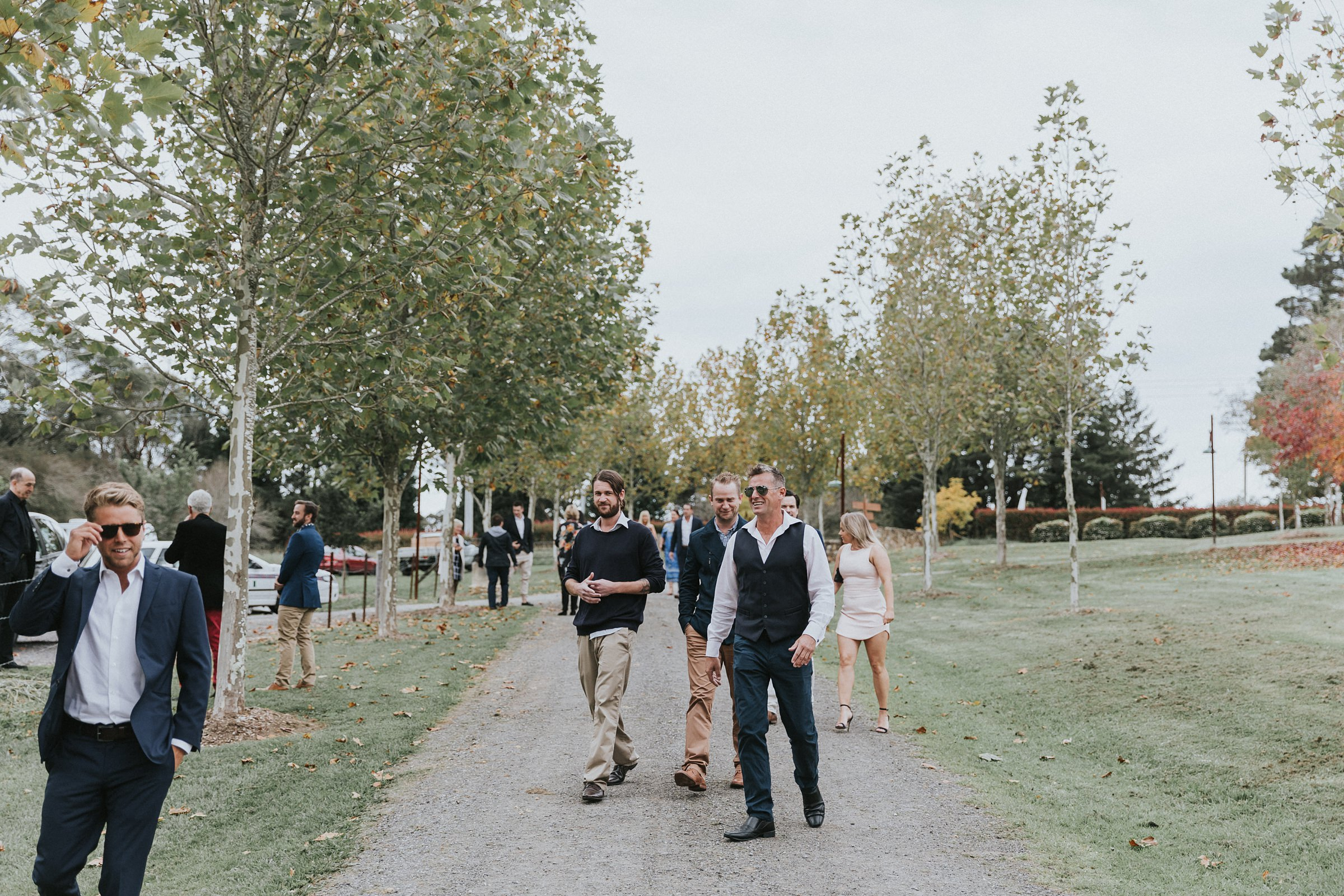 guests walking to the ceremony at mali brae farm