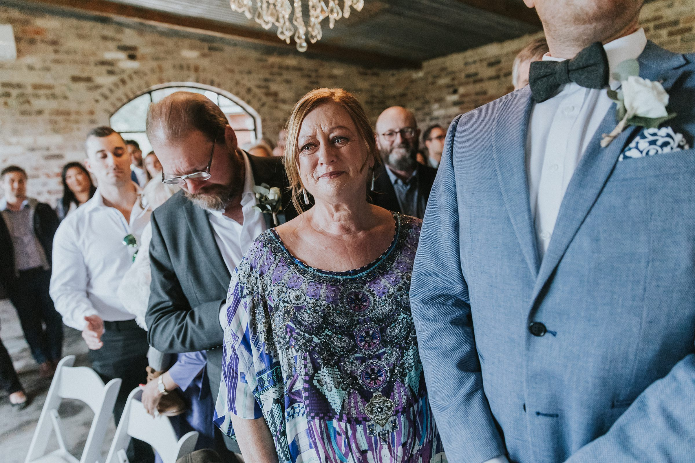 mother of the bride gets emotional at mali brae wedding ceremony