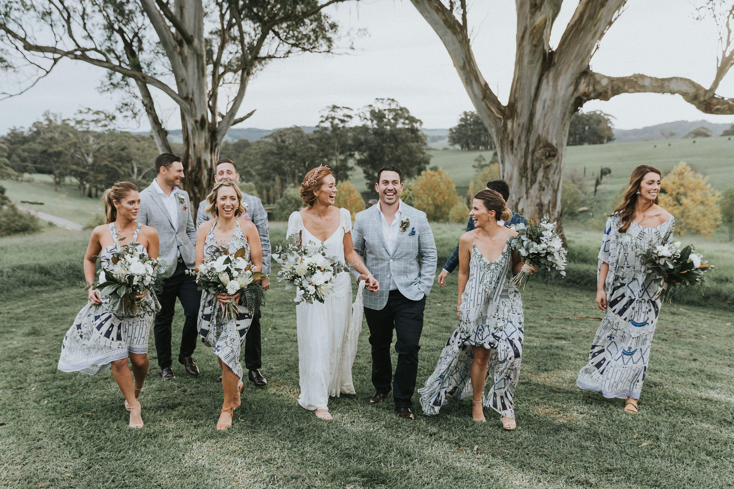 bridal party strolls through mali brae farm