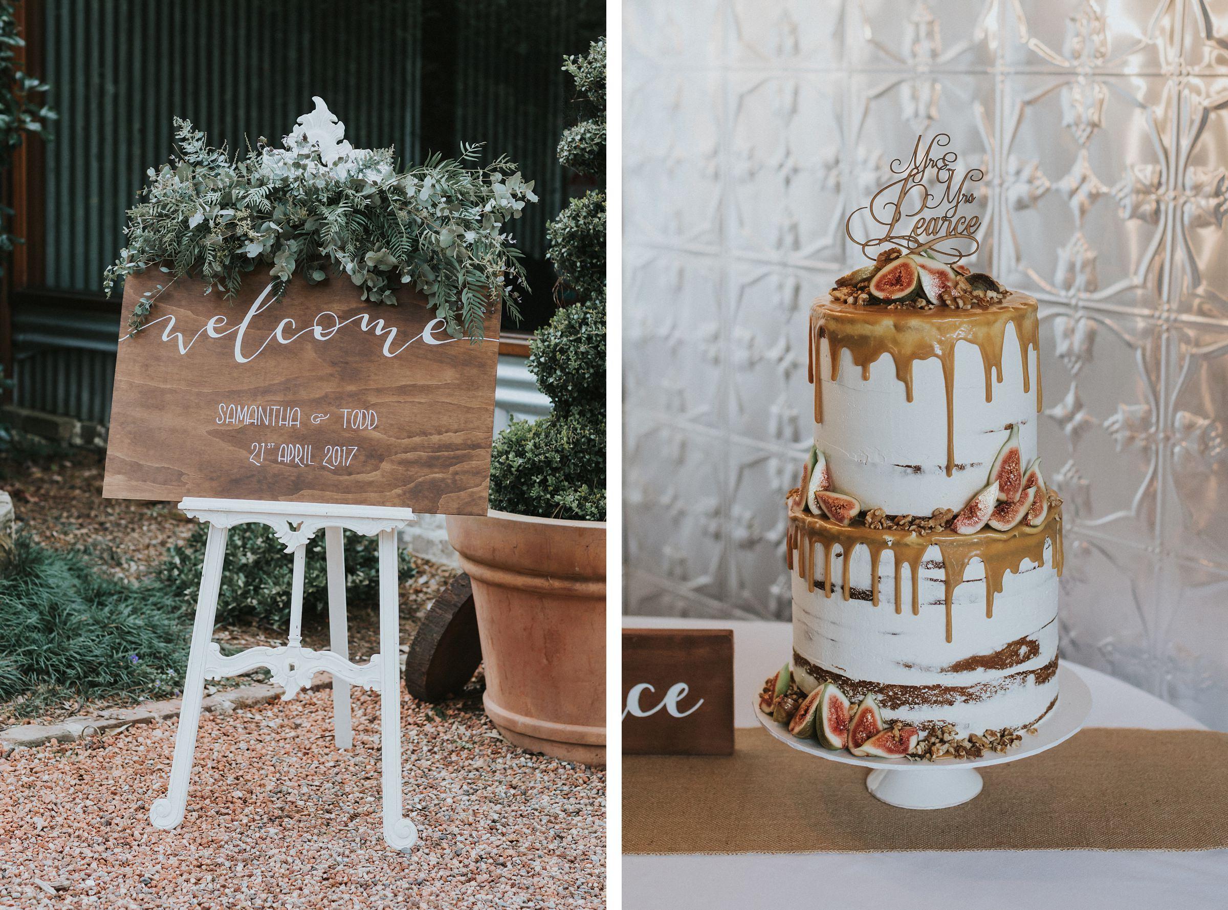 wedding reception details at mali brae farm barn