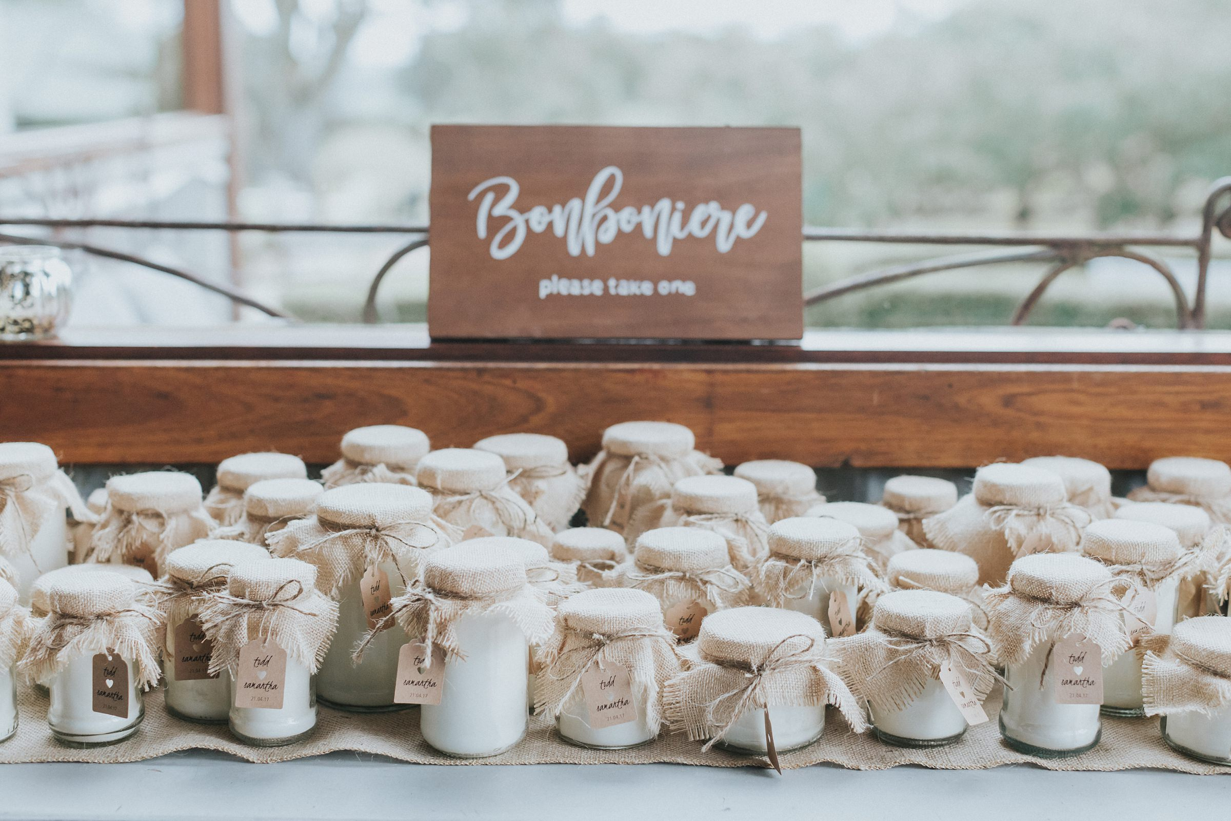bonboniere at mali brae farm wedding handmade by bride and groom