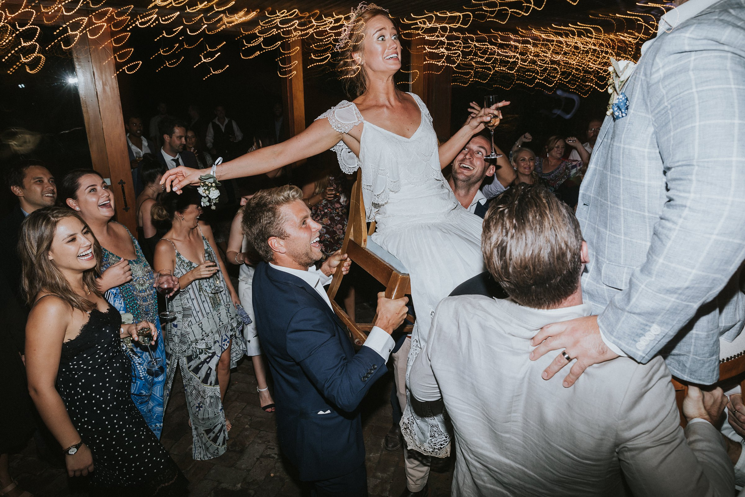 bride scared of being on a chair at mali brae wedding dance floor