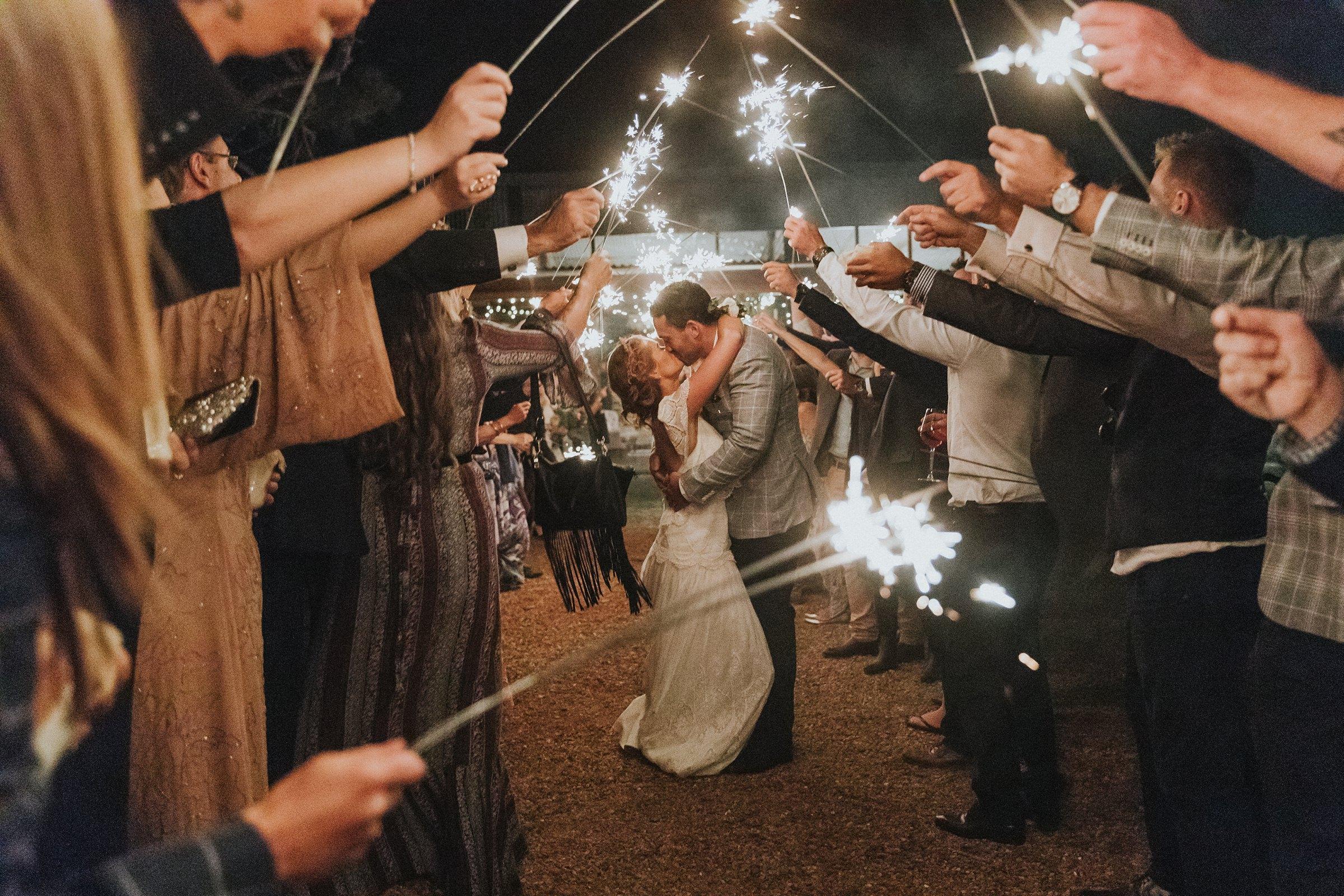 mali brae farm wedding sparkler farewell