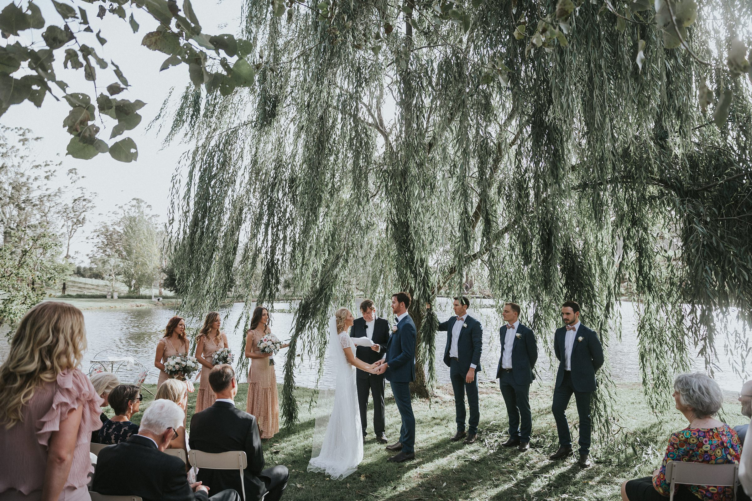 southern highlands wedding ceremony under a willow tree