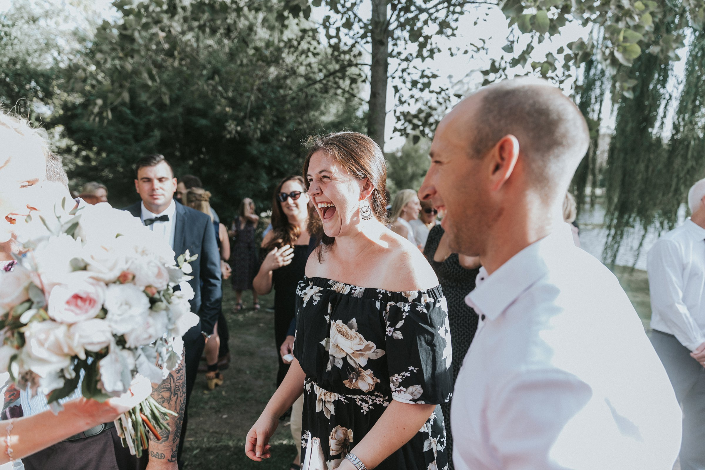 joyful hugs and screams after wedding ceremony at mali brae farm