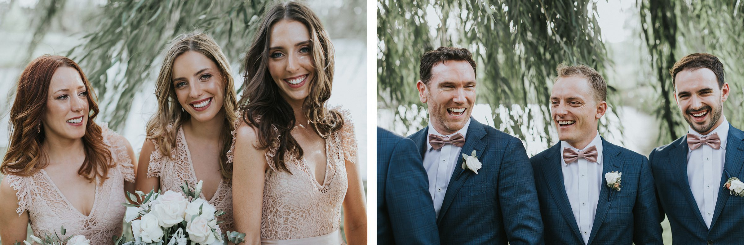 laughter from the bridal party during wedding portraits