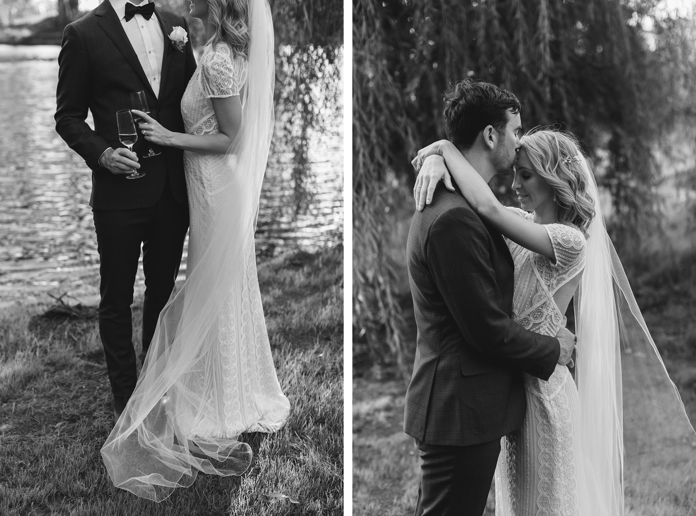 black and white portraits of the bride and groom embrace at mali brae farm