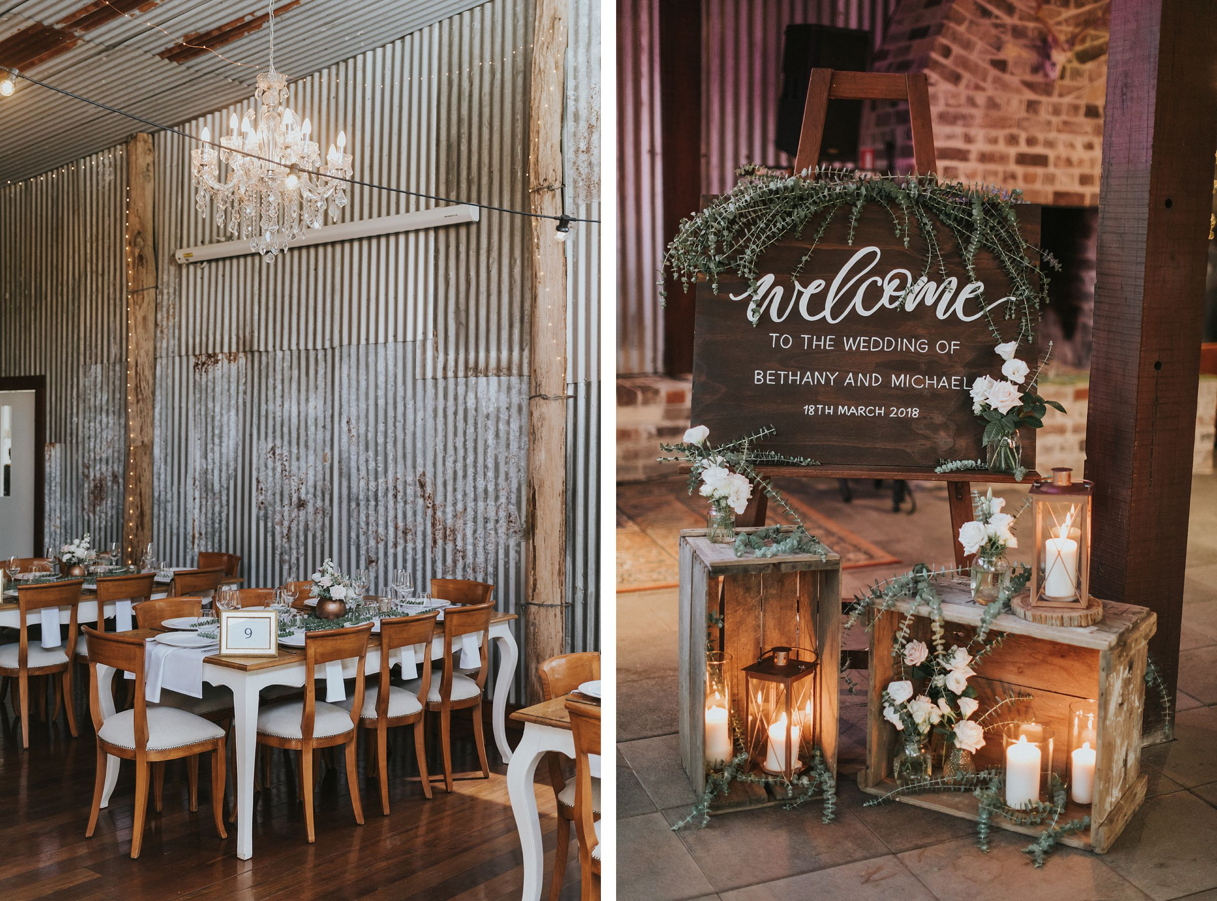 beautiful rustic styling at mali brae farm wedding reception