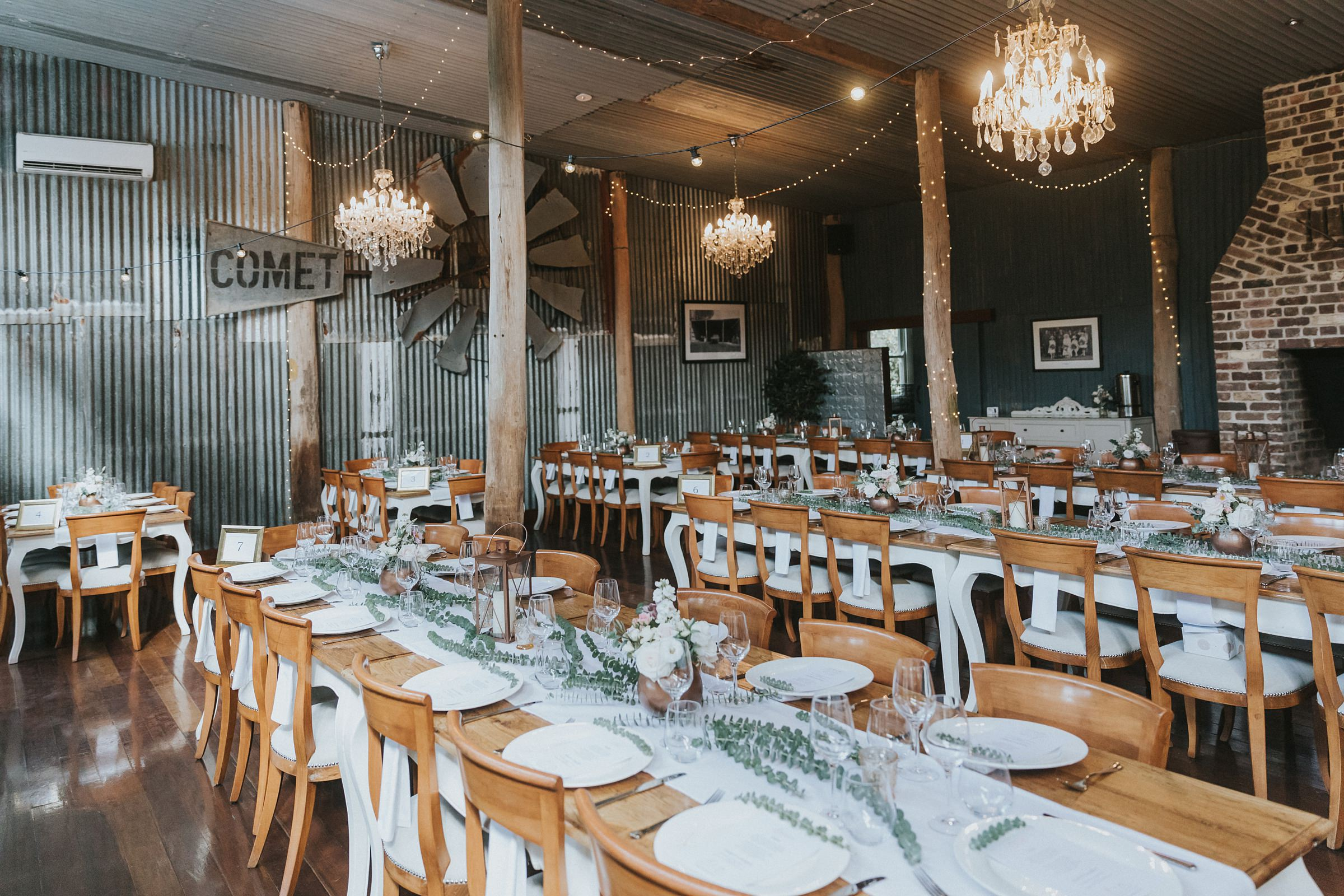 rustic vintage wedding reception