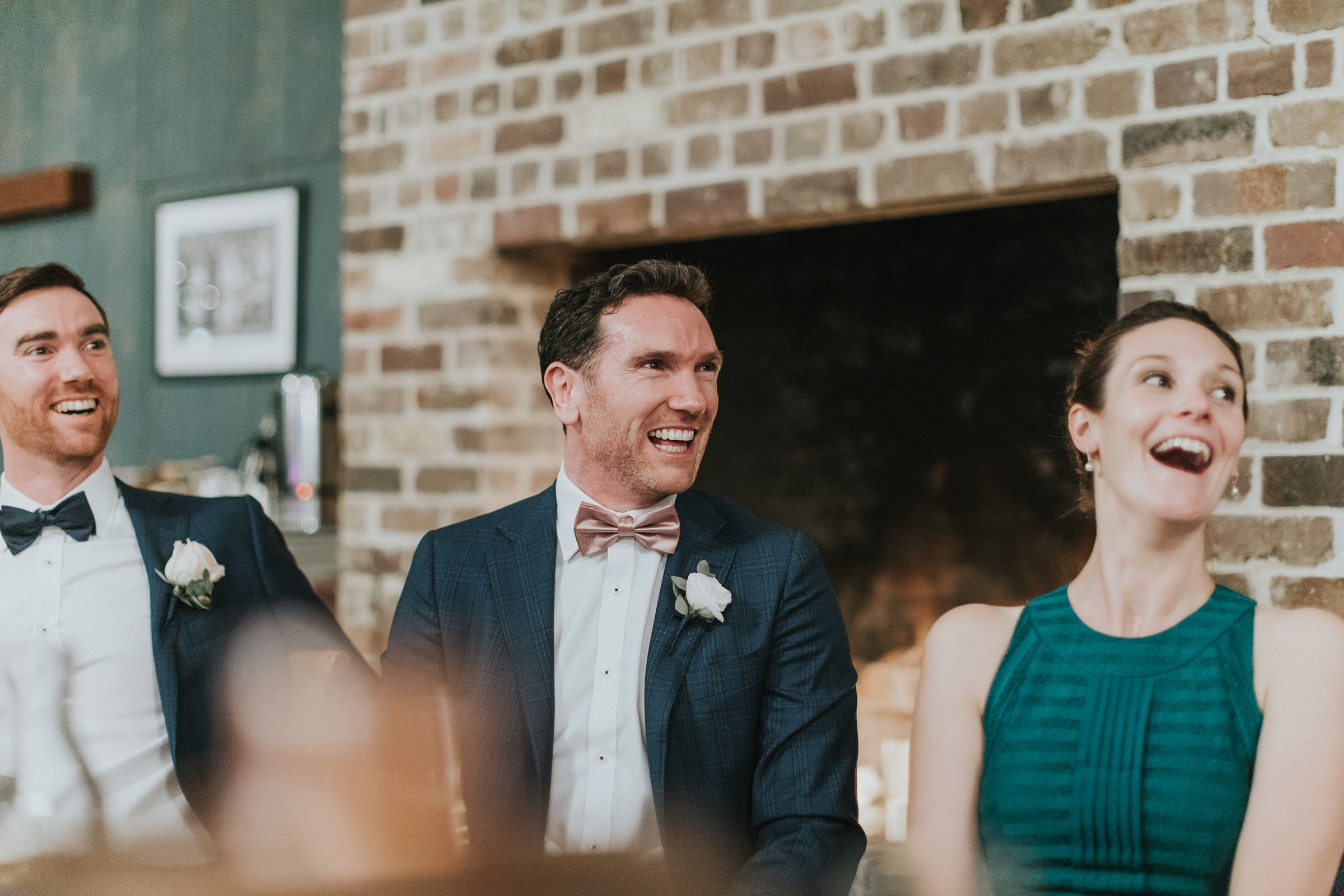 laughter and excitement during wedding reception
