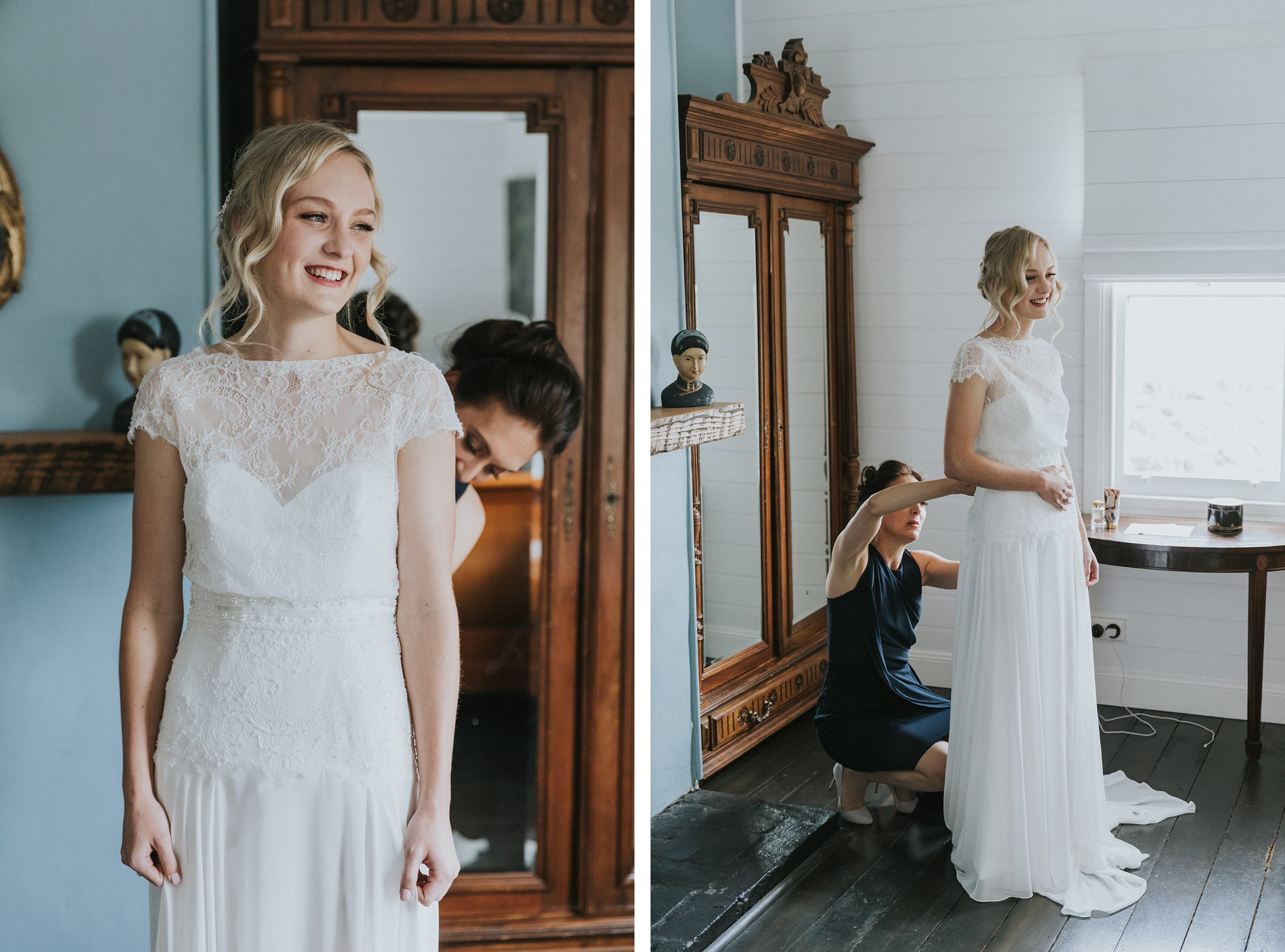 natural wedding portraits of bride in bowral the coach house