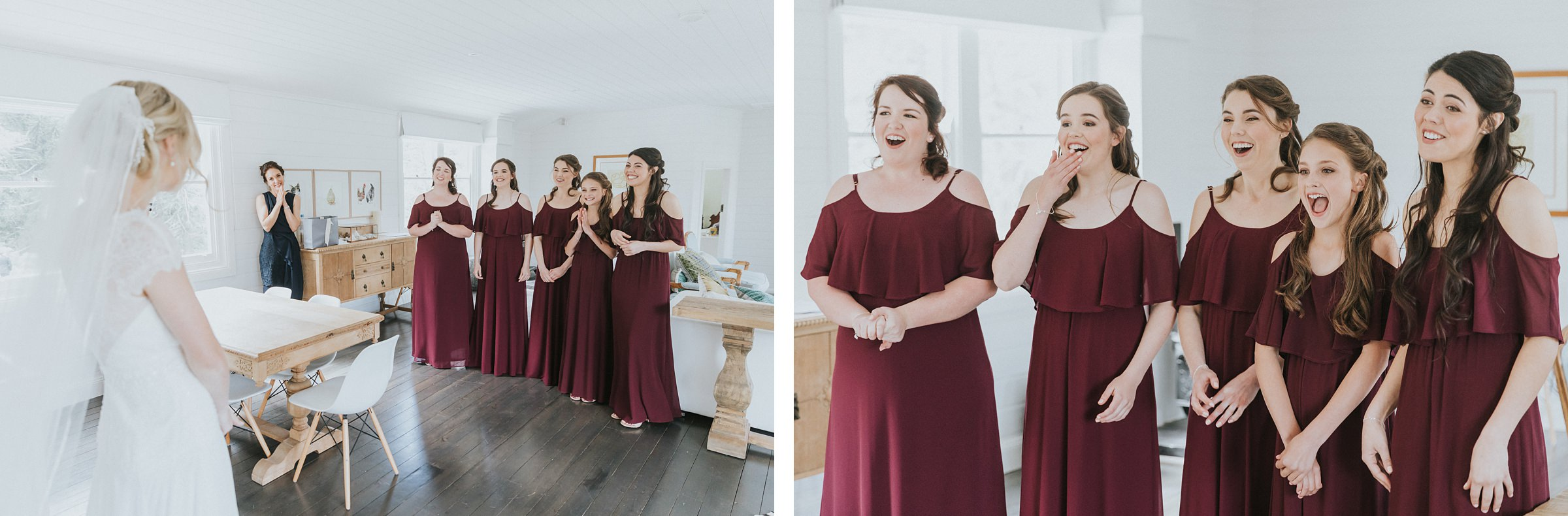 bridesmaids see bride for first time photojournalism