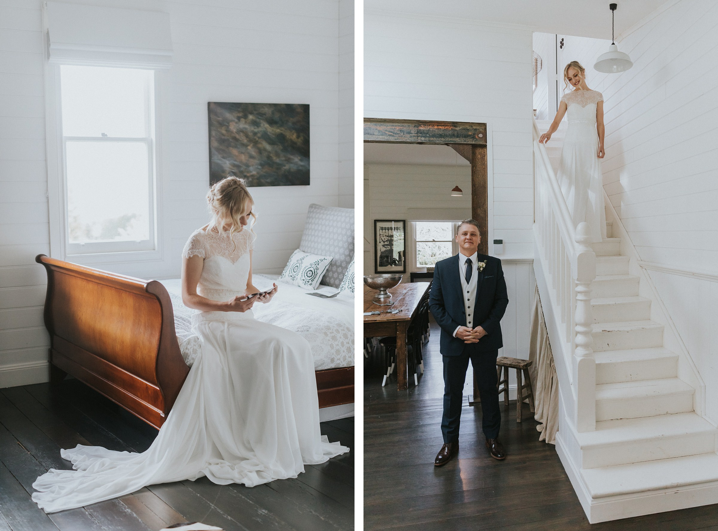 brides father sees his daughter walk down the stairs at the coach house bowral