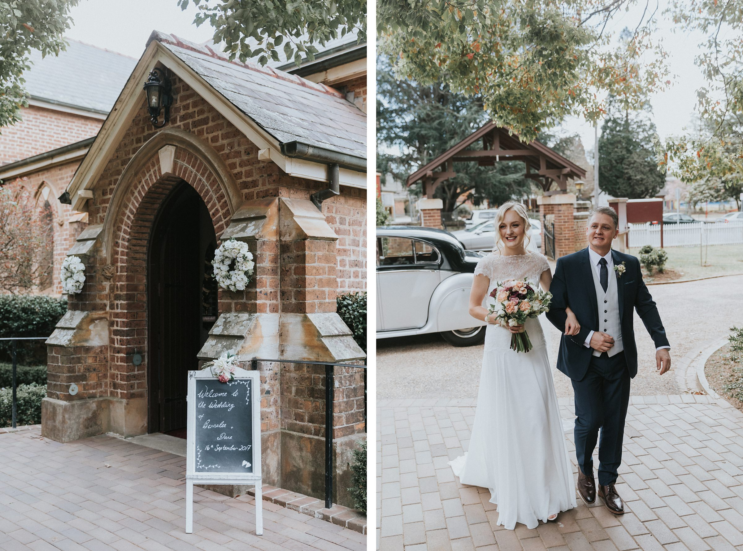 bride and her father walk into the anglican church in bowral for her wedding ceremony