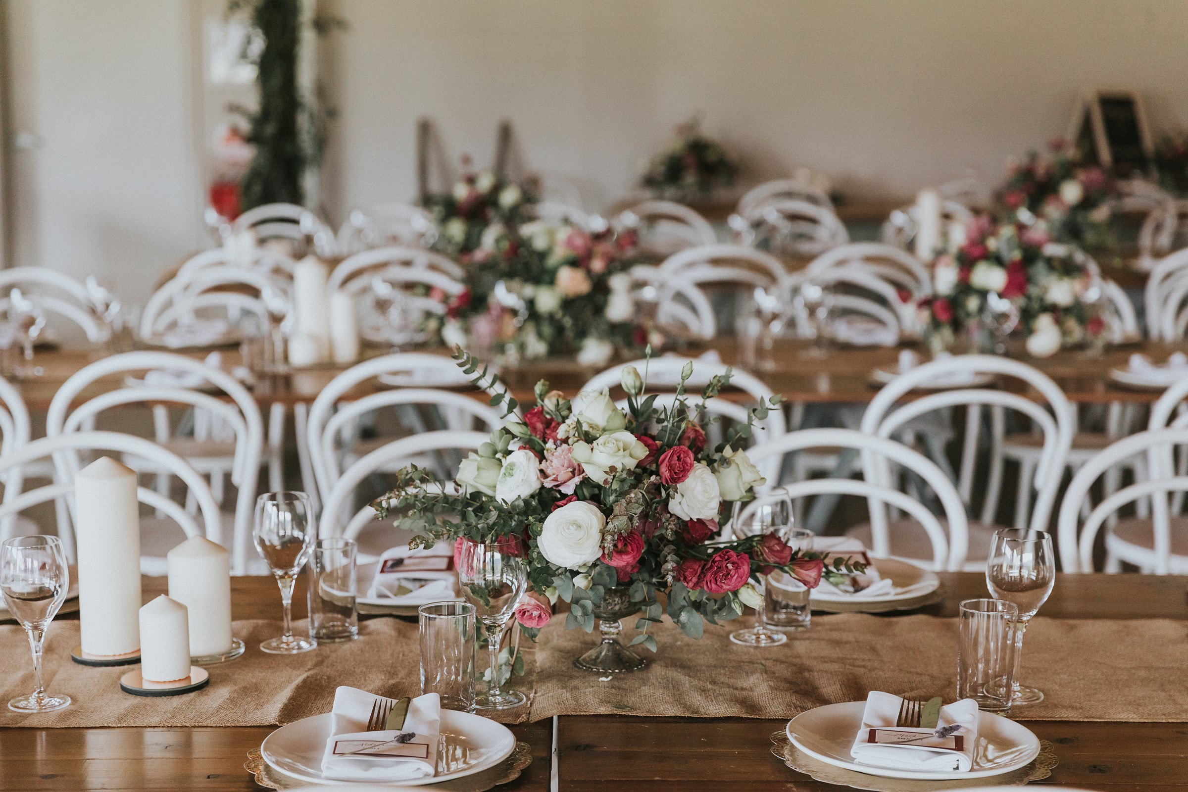 table styling at the barn at melross wedding