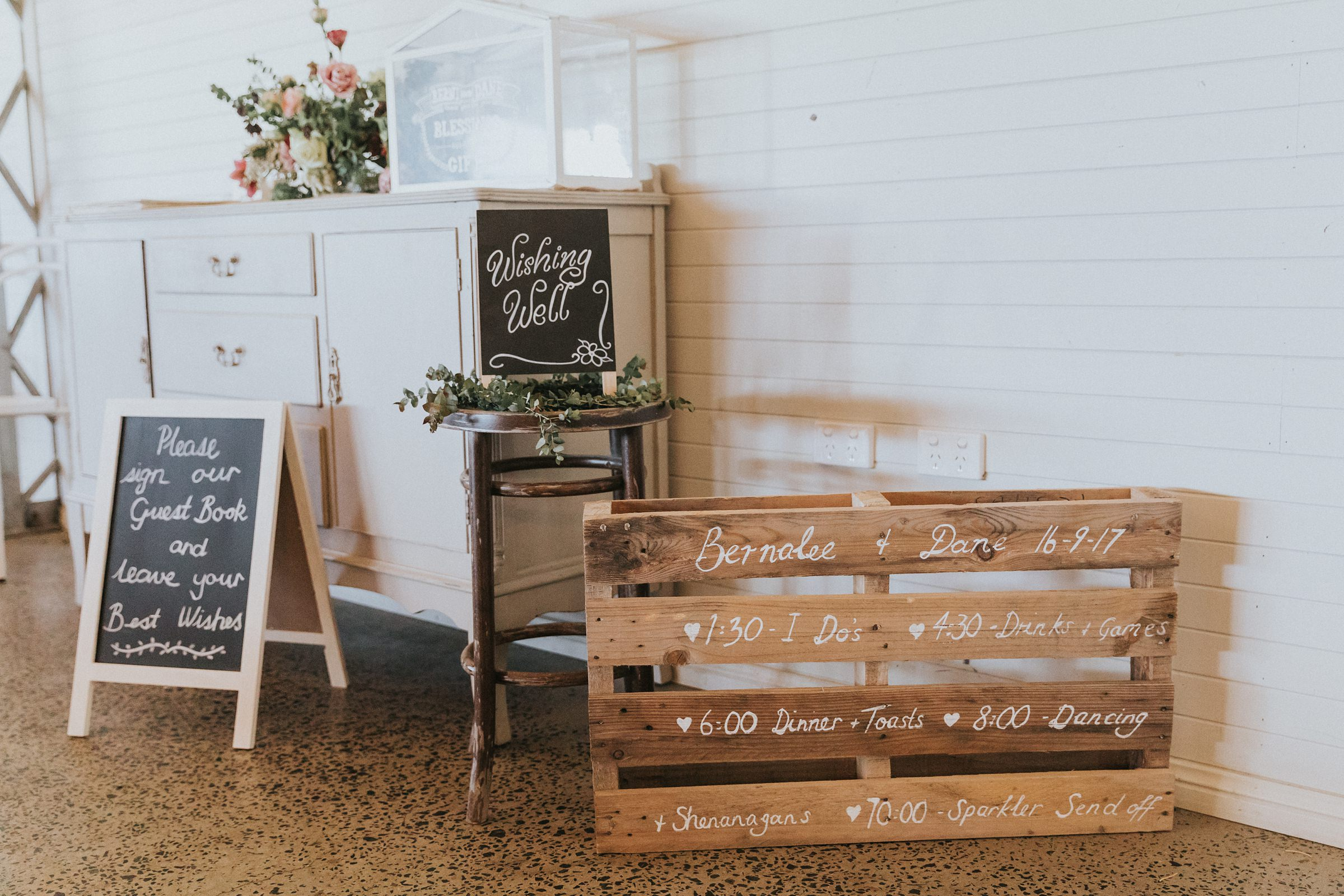 wedding signage at the barn at melross and willows estate