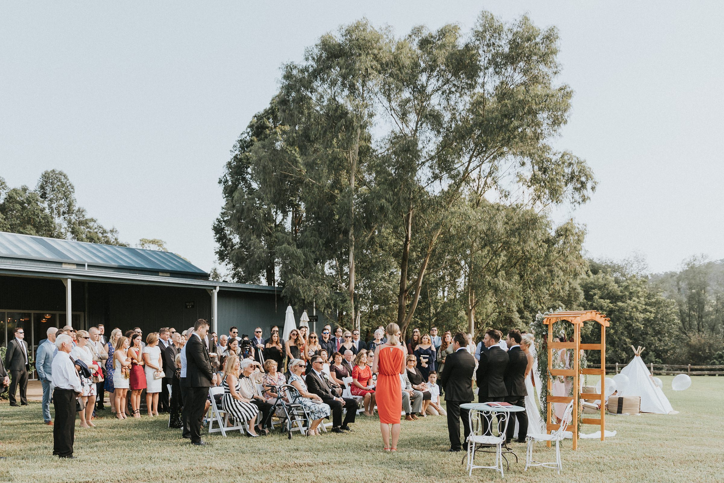 wedding ceremony photography at melross and willows estate