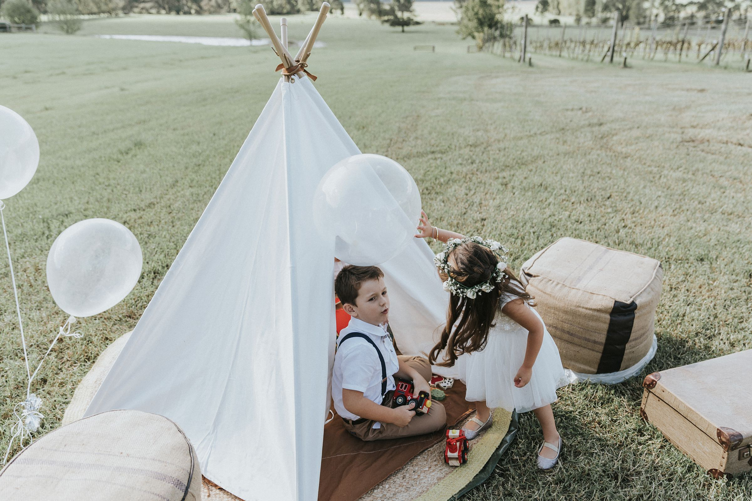 teepee for children to be entertained during the wedding ceremony