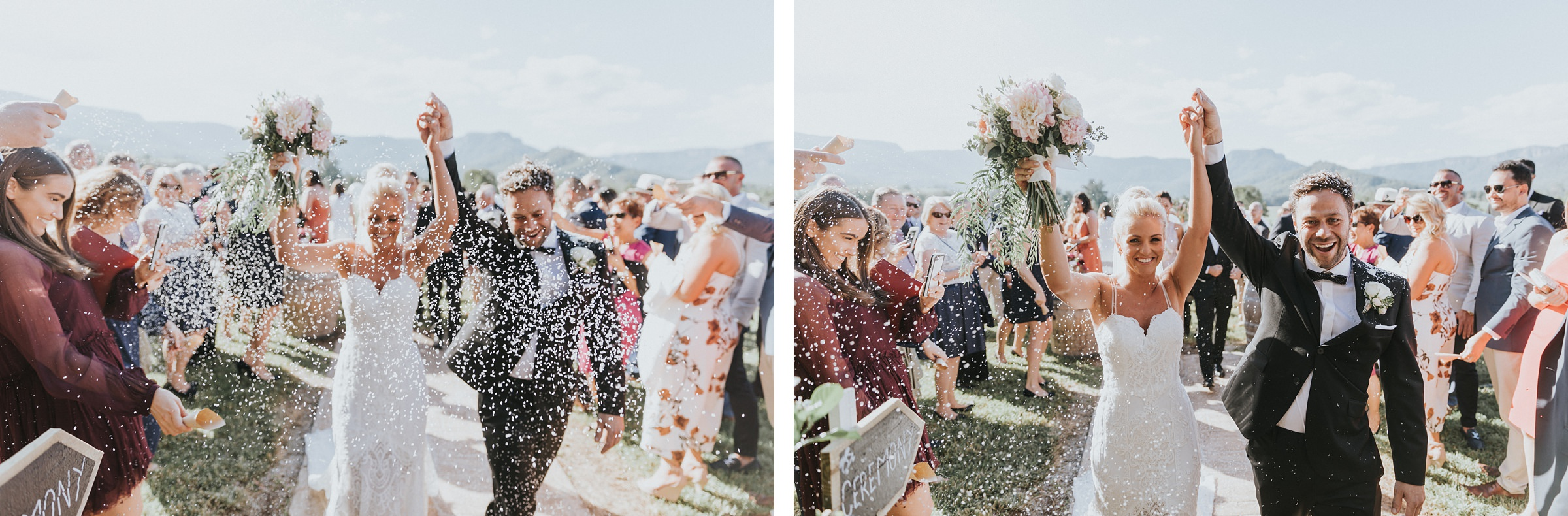 confetti being thrown at bride and groom at melross farm