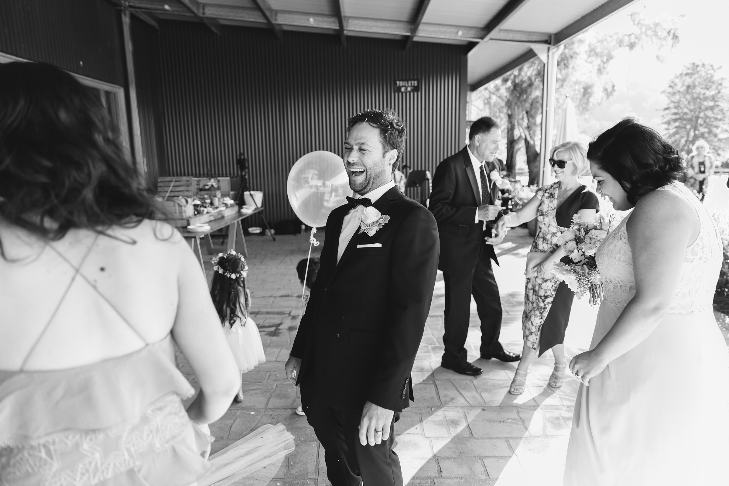 laughter and joy after wedding ceremony at melross farm