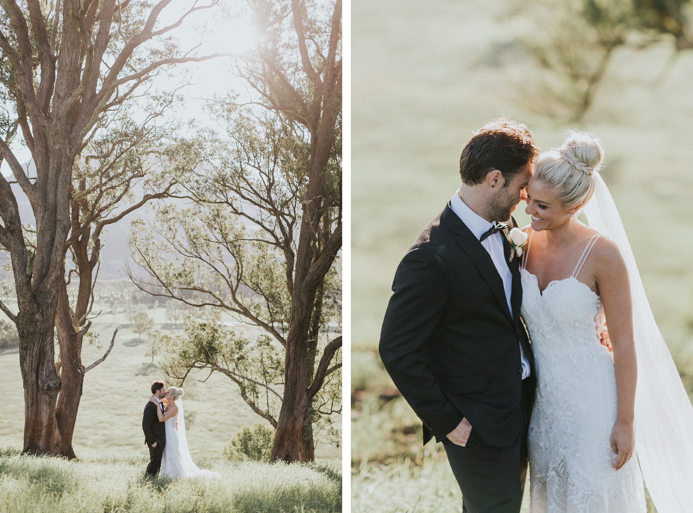 golden hour wedding portraits at melross farm in the kangaroo valley