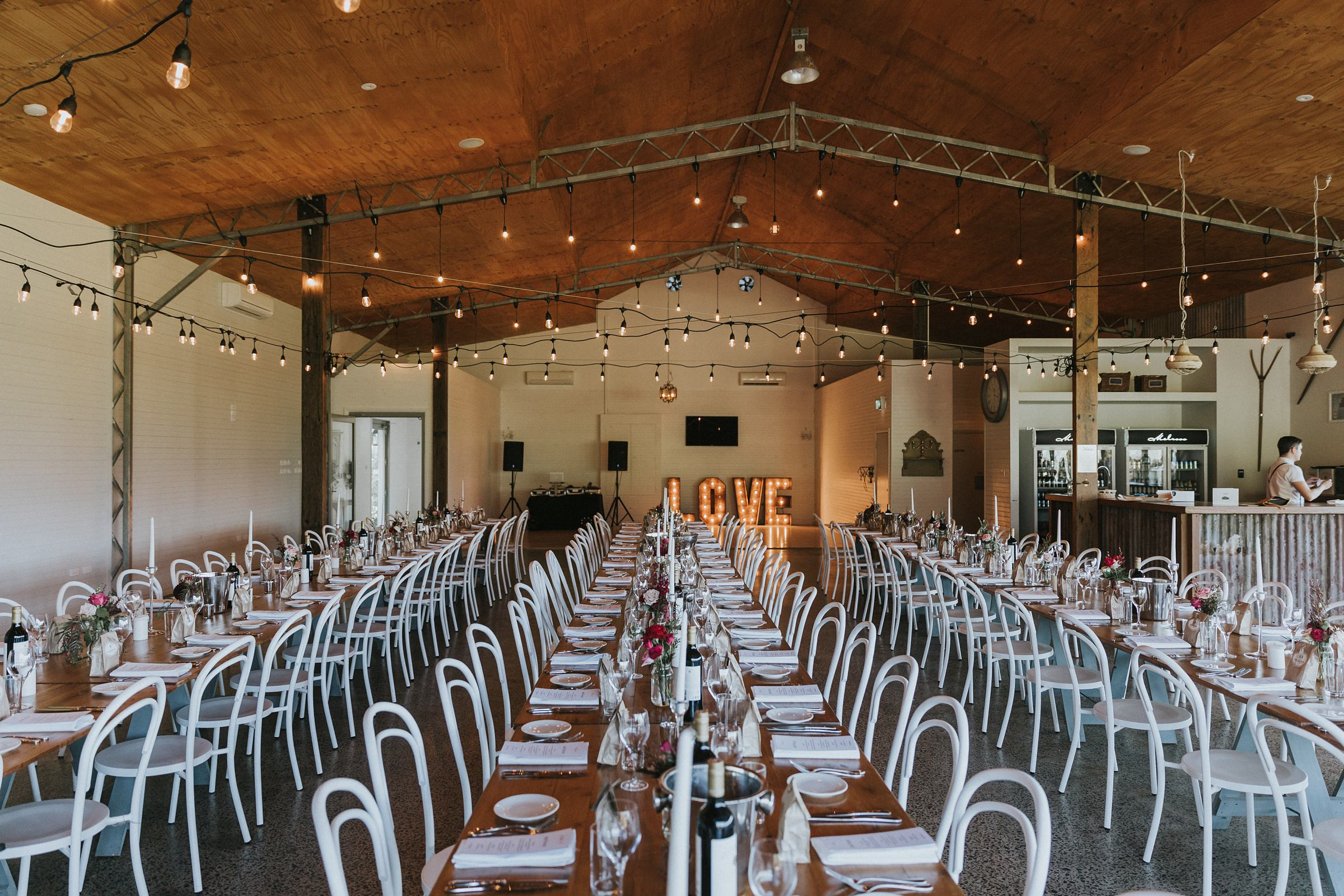 the barn at melross farm wedding reception set up