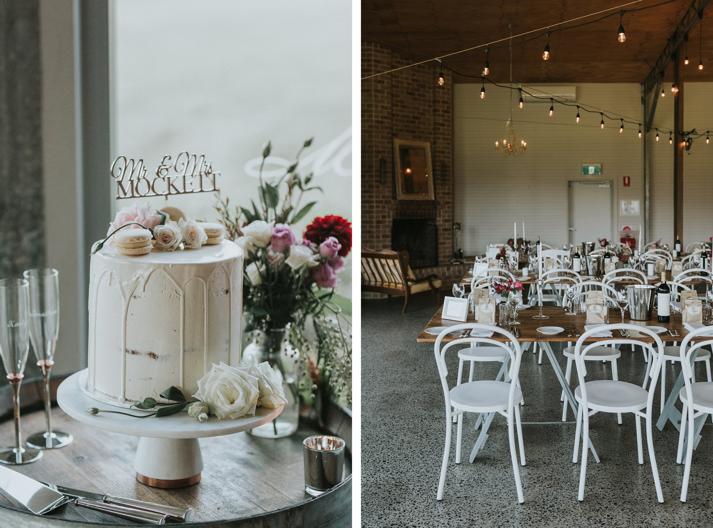 wedding cake and table styling at the barn on melross