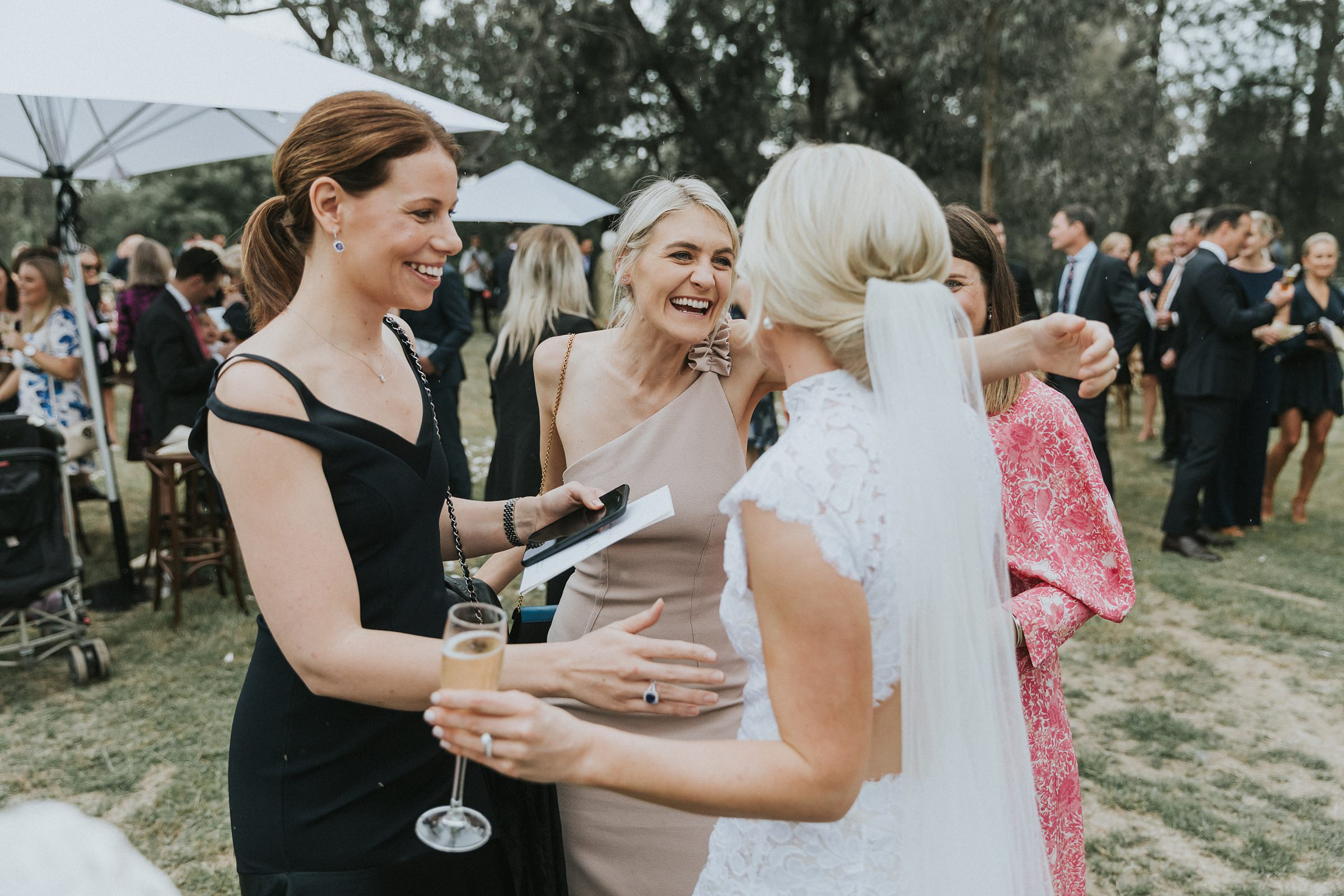 guests congratulate the bride after ceremony at nimbo fork lodge wedding