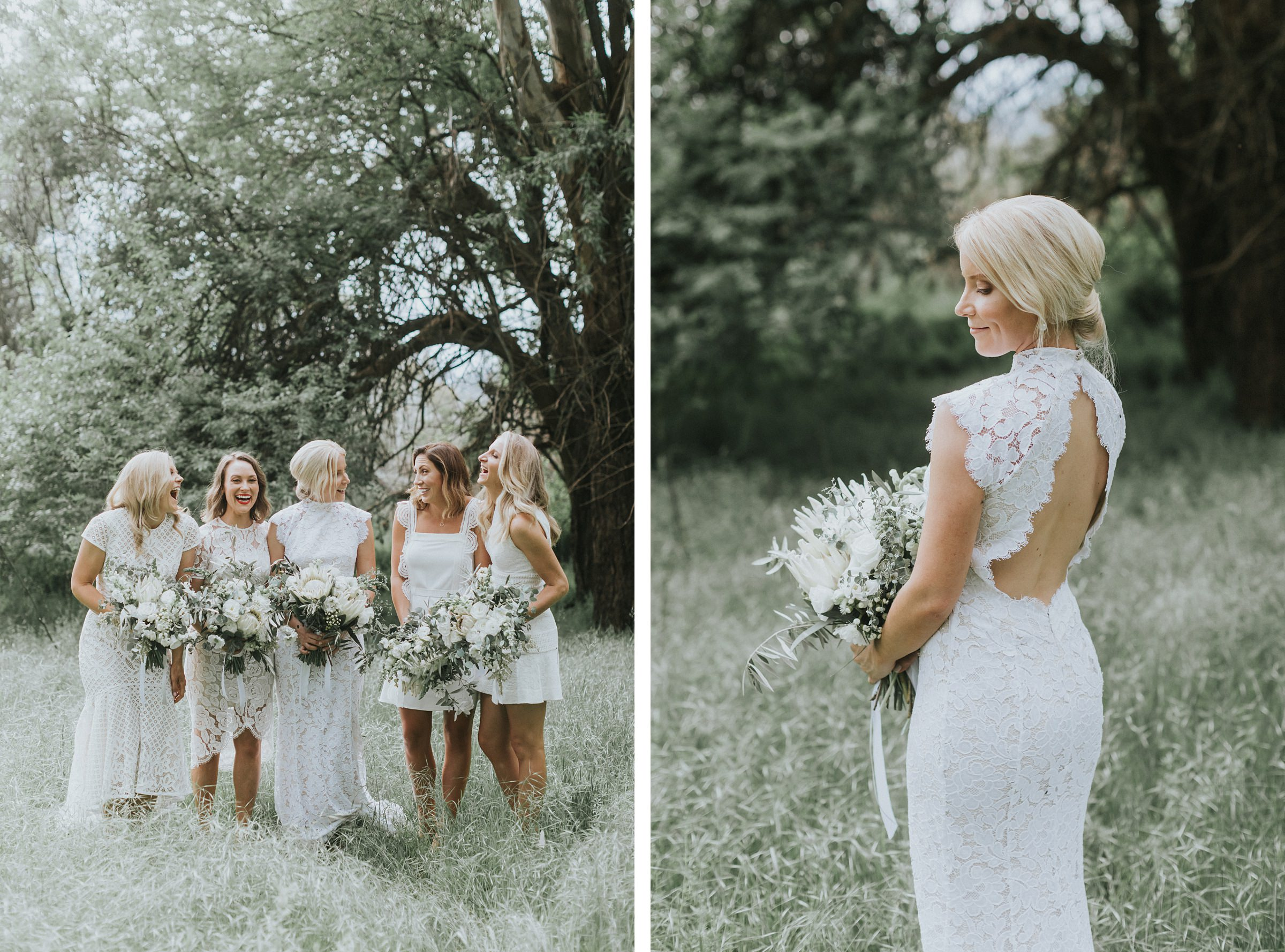 beautiful portraits of bride and her bridesmaids in nimbo