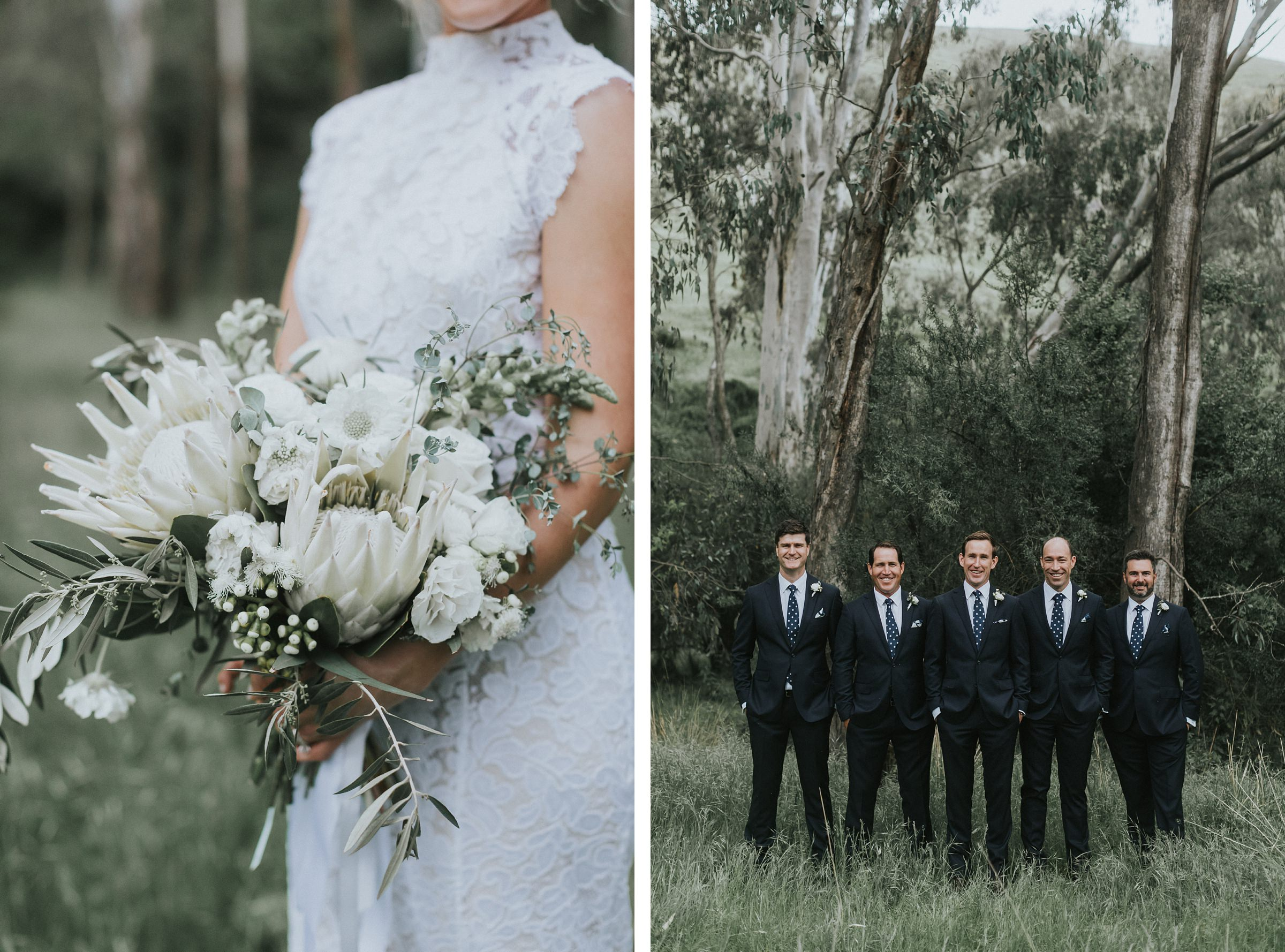 portraits of bouquet and groomsmen by the tumut river