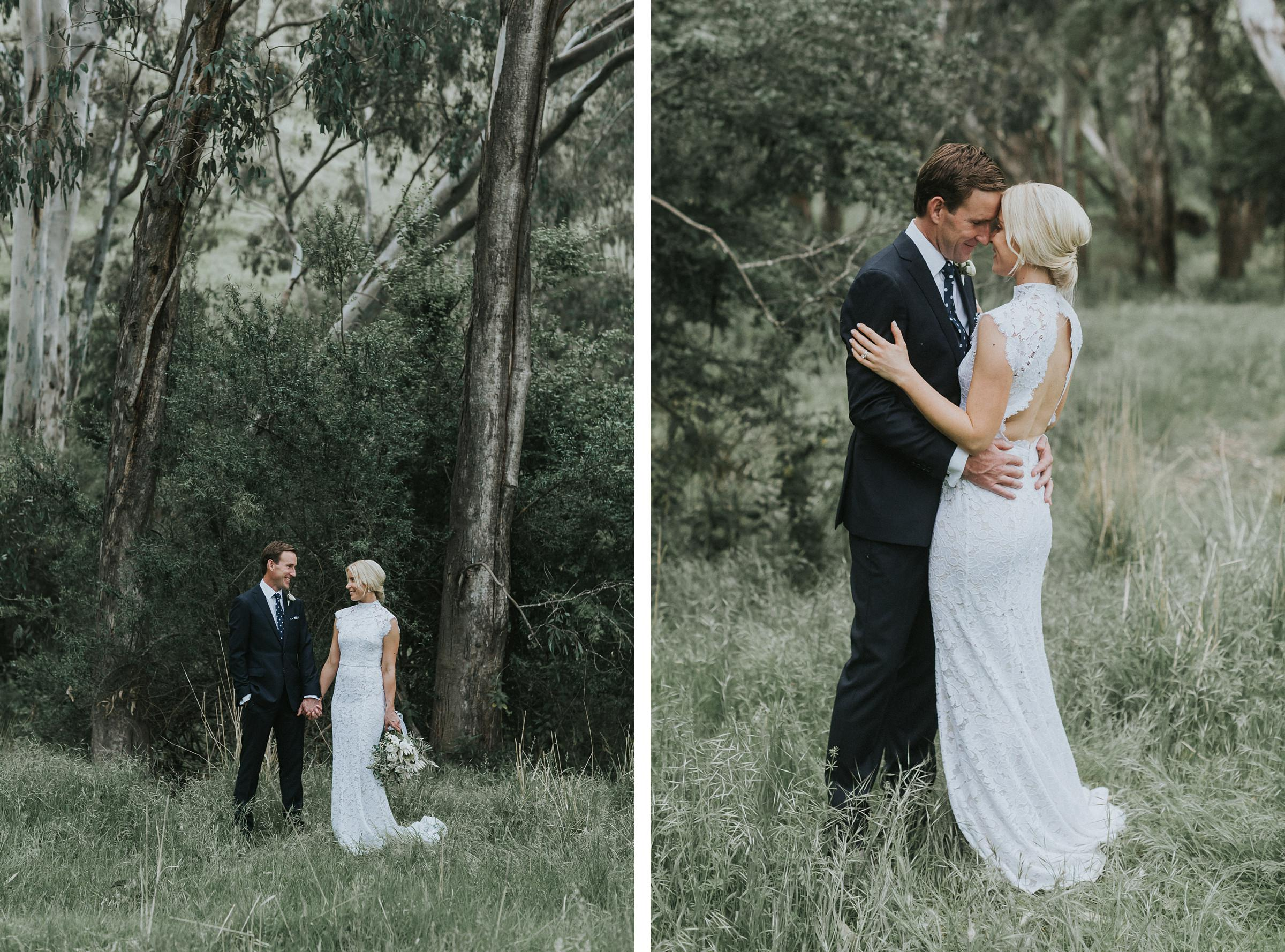 romantic portraits of bride and groom at nimbo fork lodge wedding