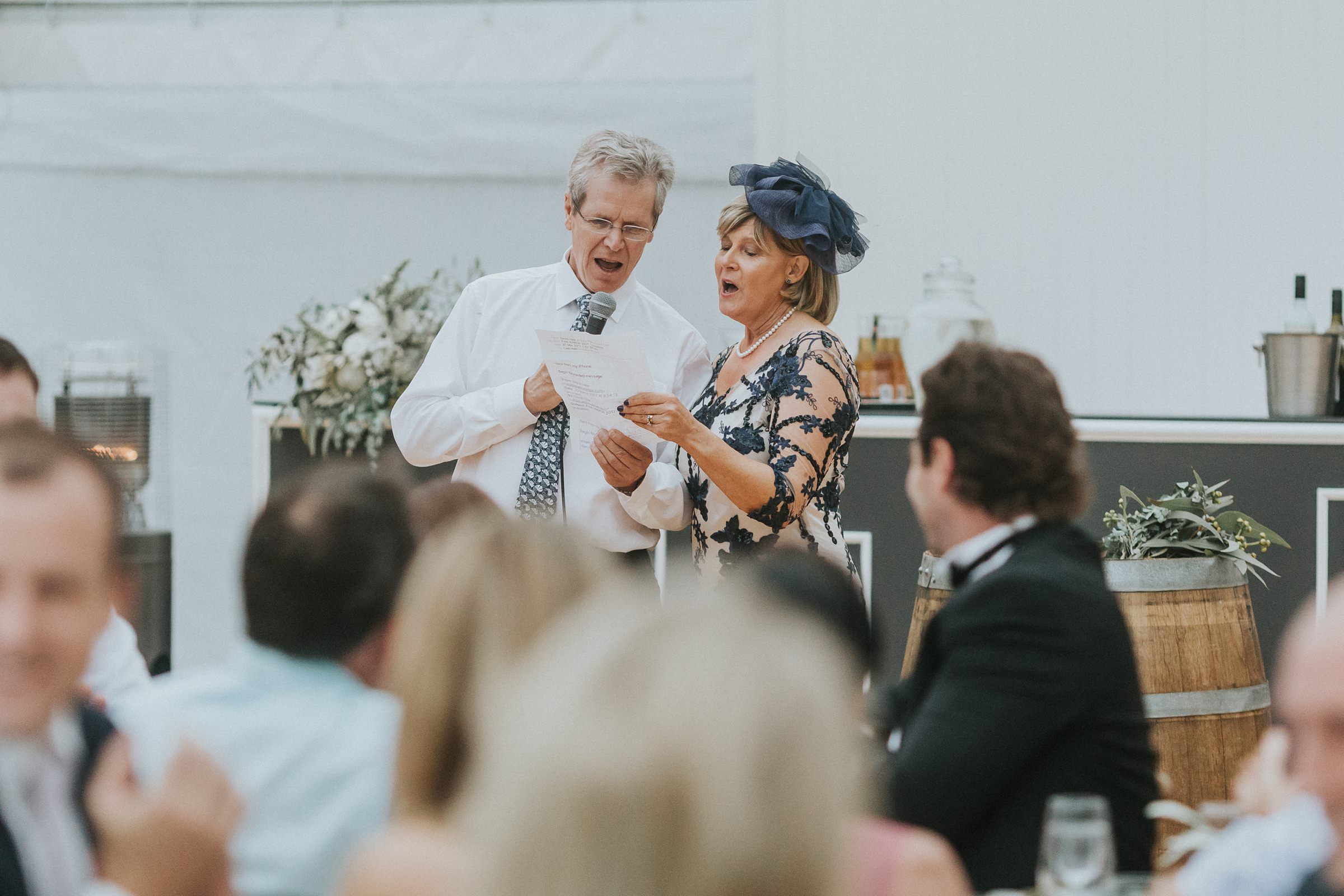 parents singing their speech in the marquee at nimbo fork lodge