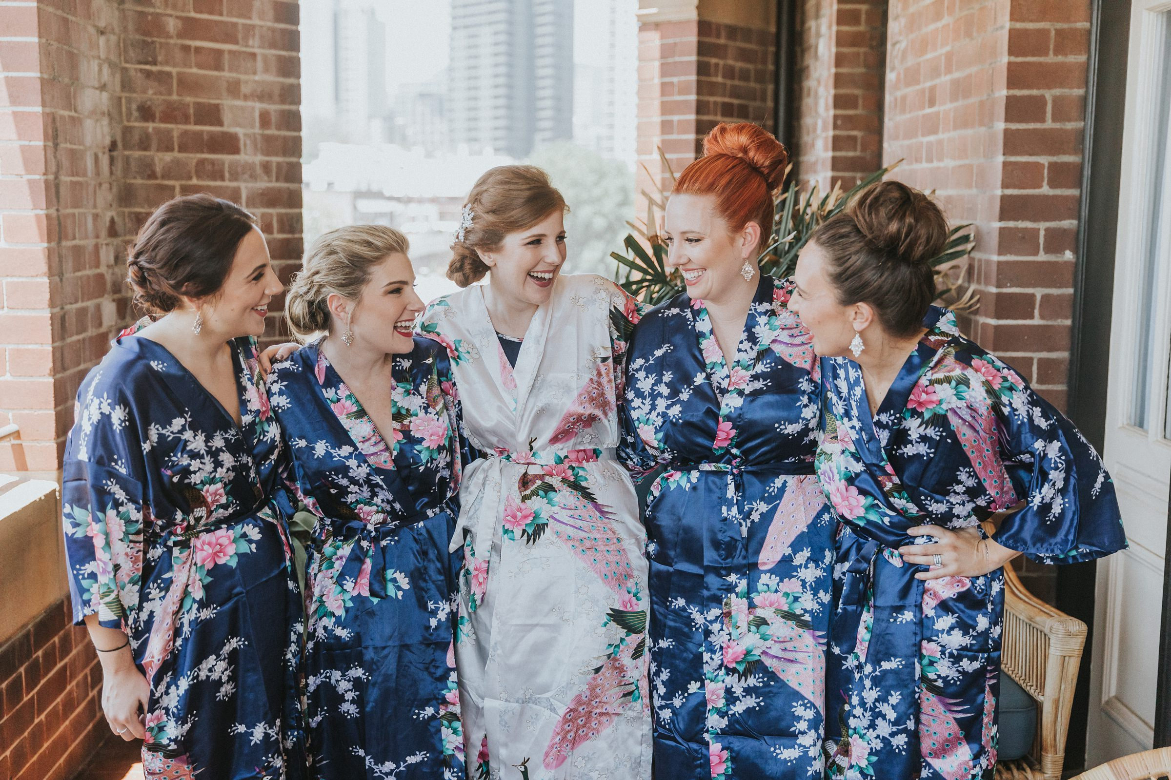 cute bridal robes during wedding morning preparations in sydney