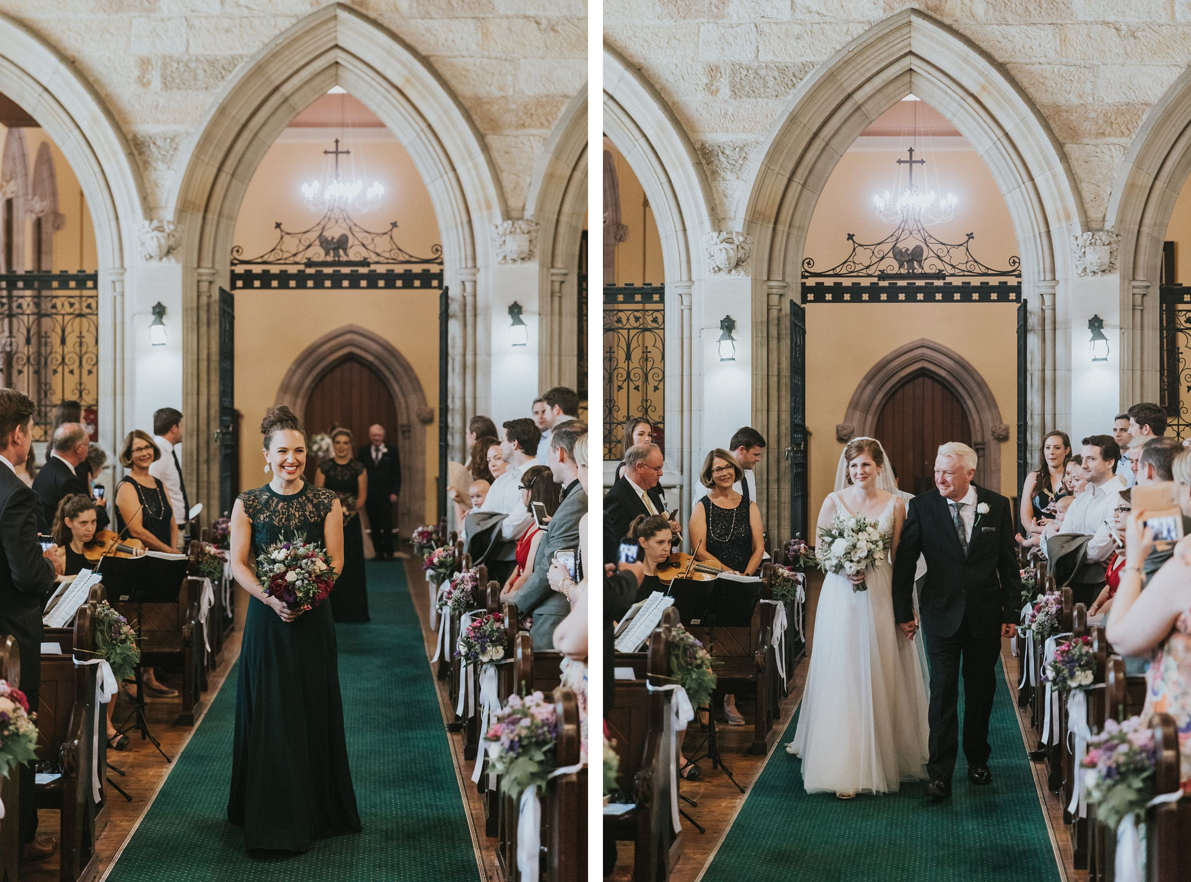 bride walked by her father down the aisle for church wedding ceremony