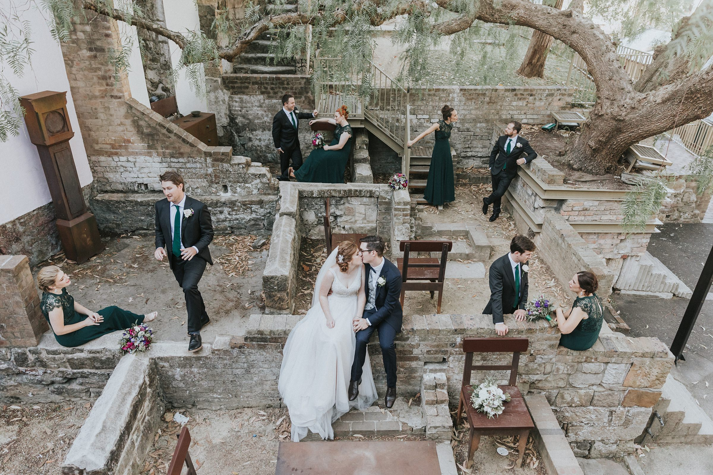 sydney observatory wedding photography of bridal party in the rocks