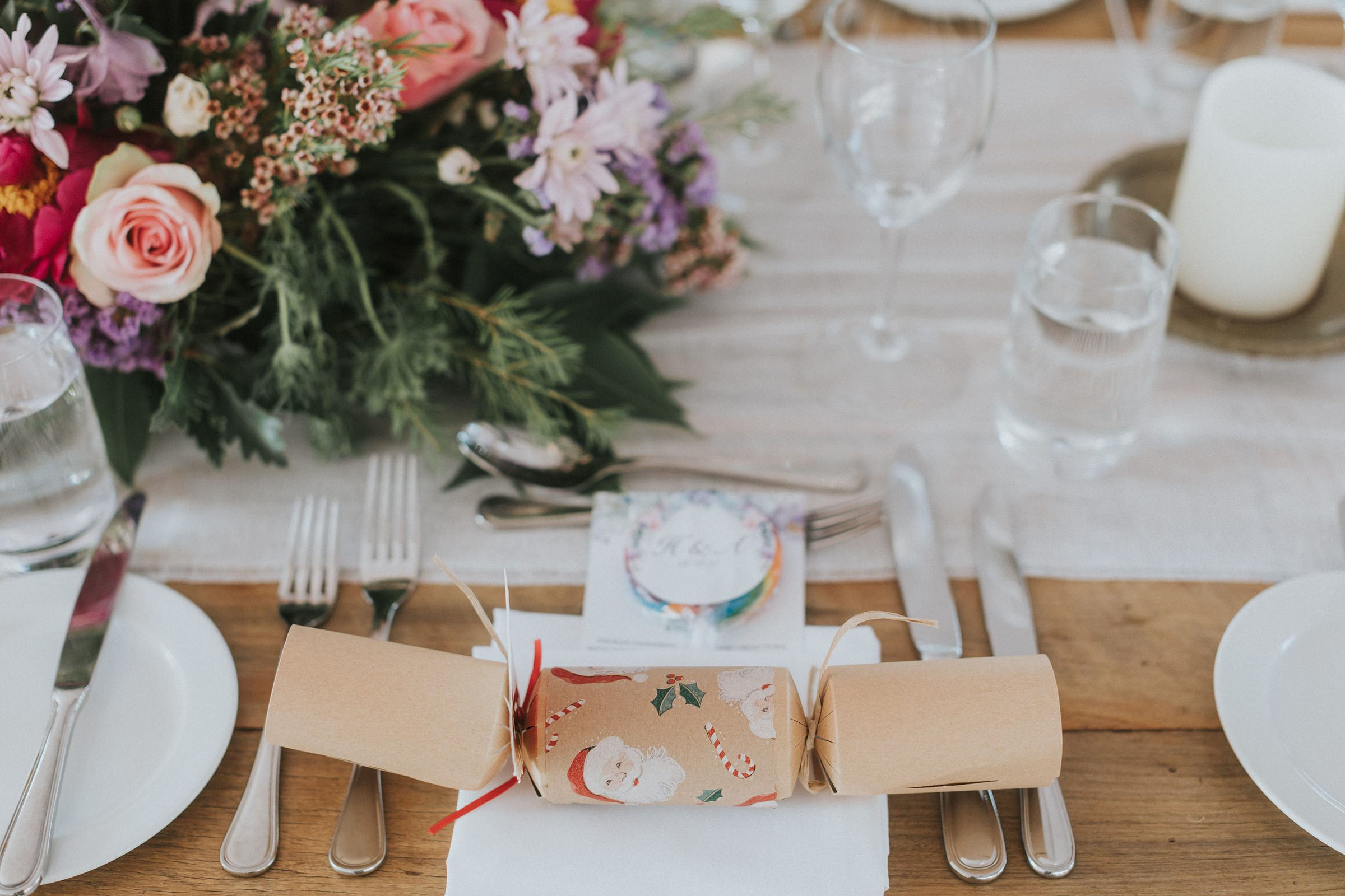 christmas crackers for the guests at summer wedding in sydney