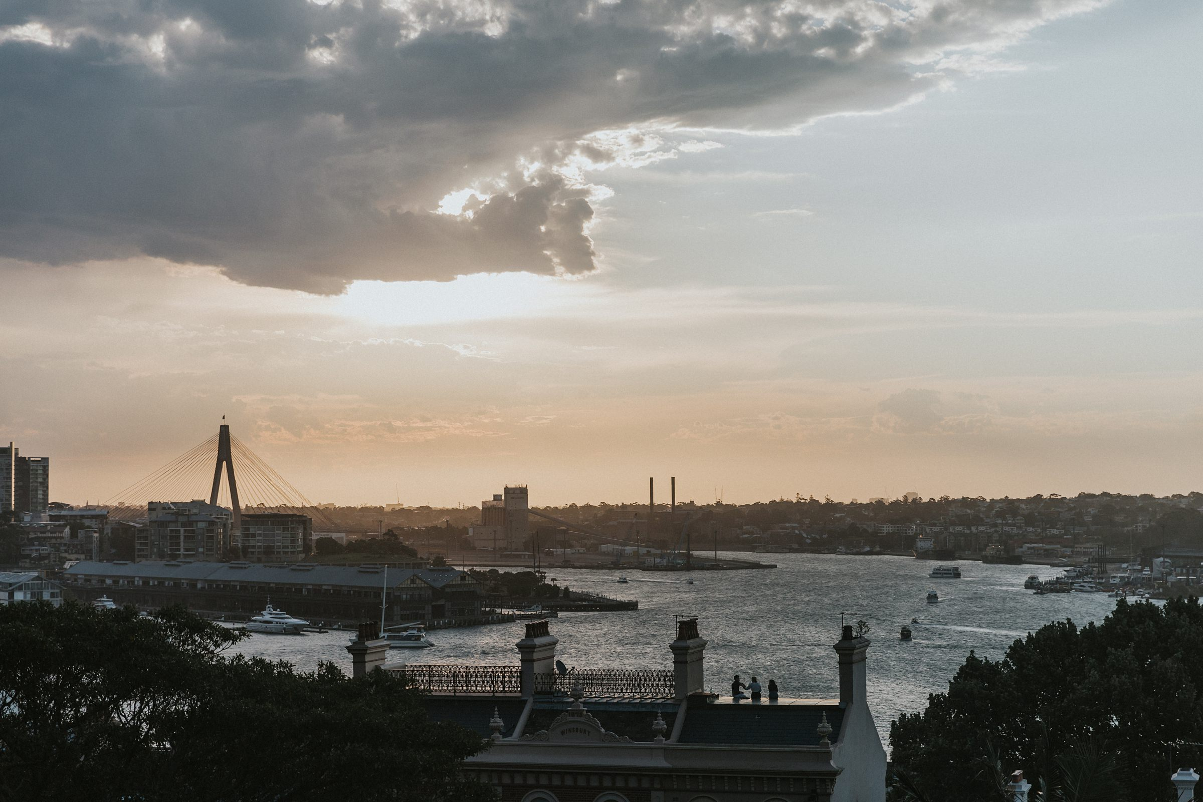 anzac bridge sydney wedding photos during sunset
