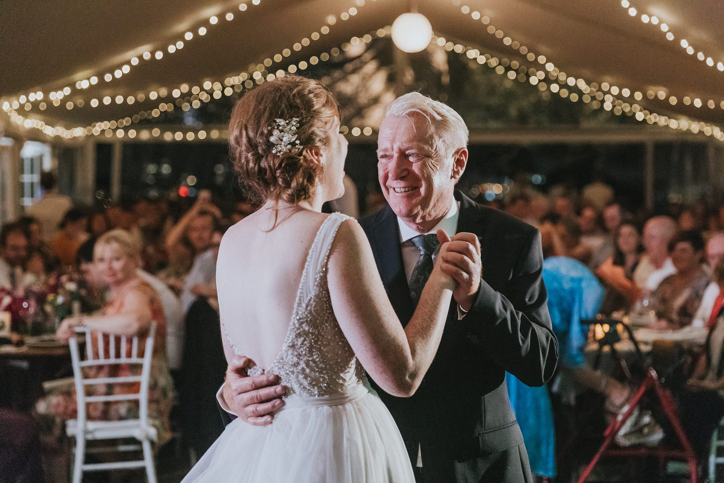 father of the bride wedding dance with bride in marquee